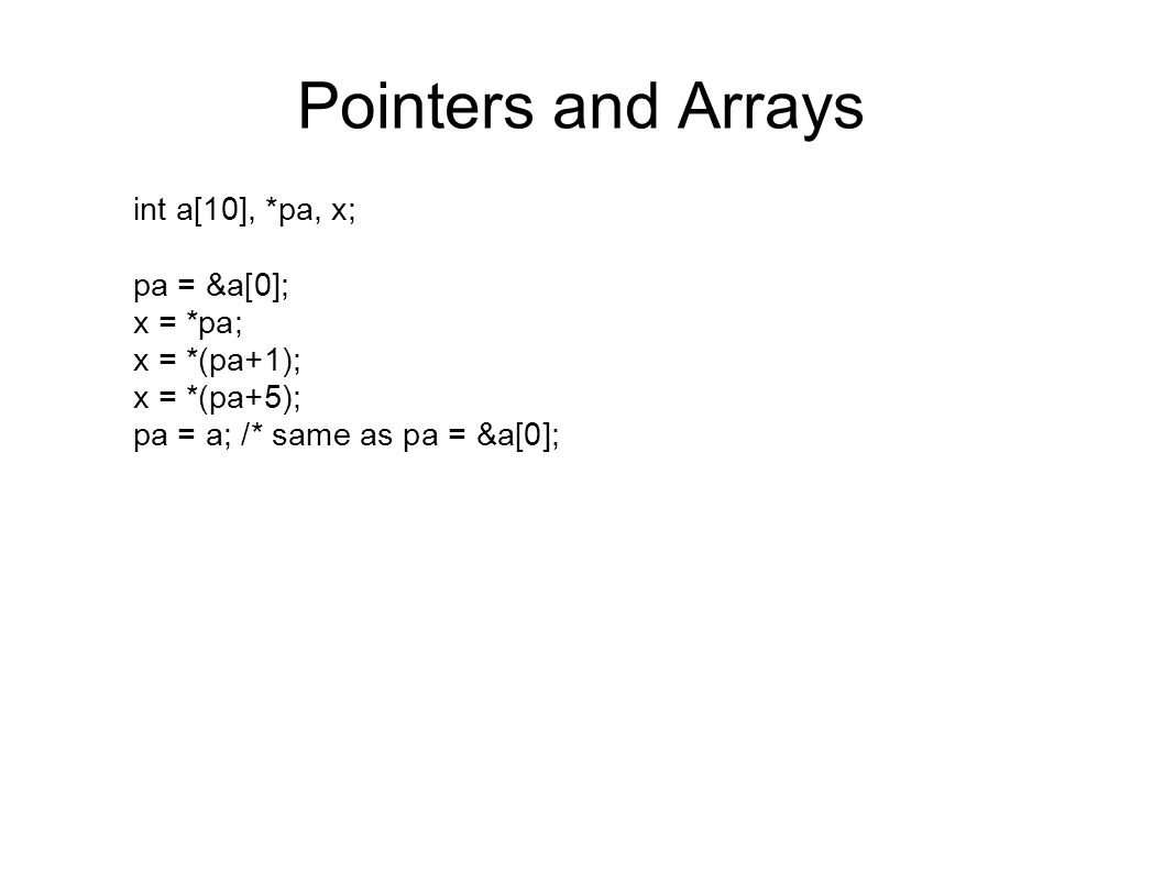 relationship between pointers and arrays c examples
